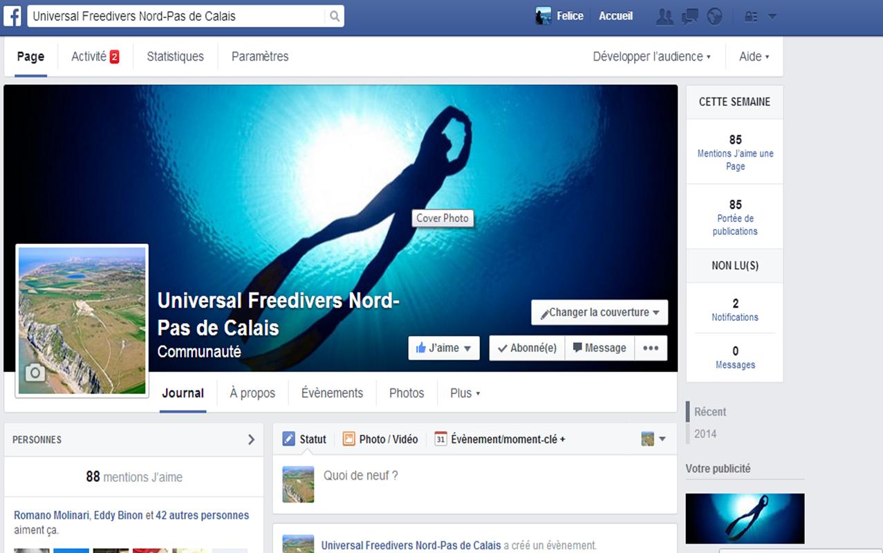 "Le groupe FaceBook ""Universal Freedivers Nord-Pas de Calais"" lancé ce matin du 15 octobre 2014."
