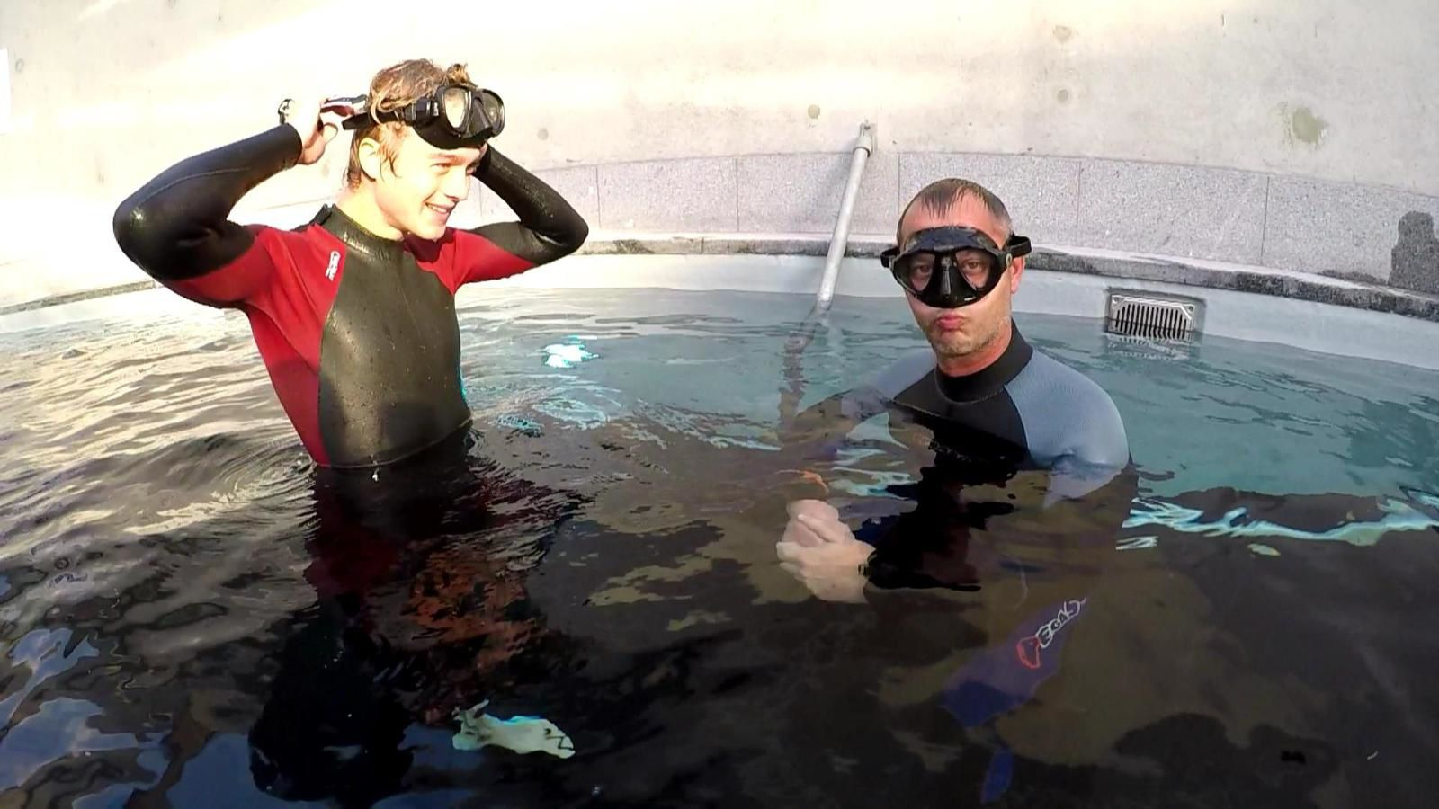 Static apnea with Gilles and Laurent :D.