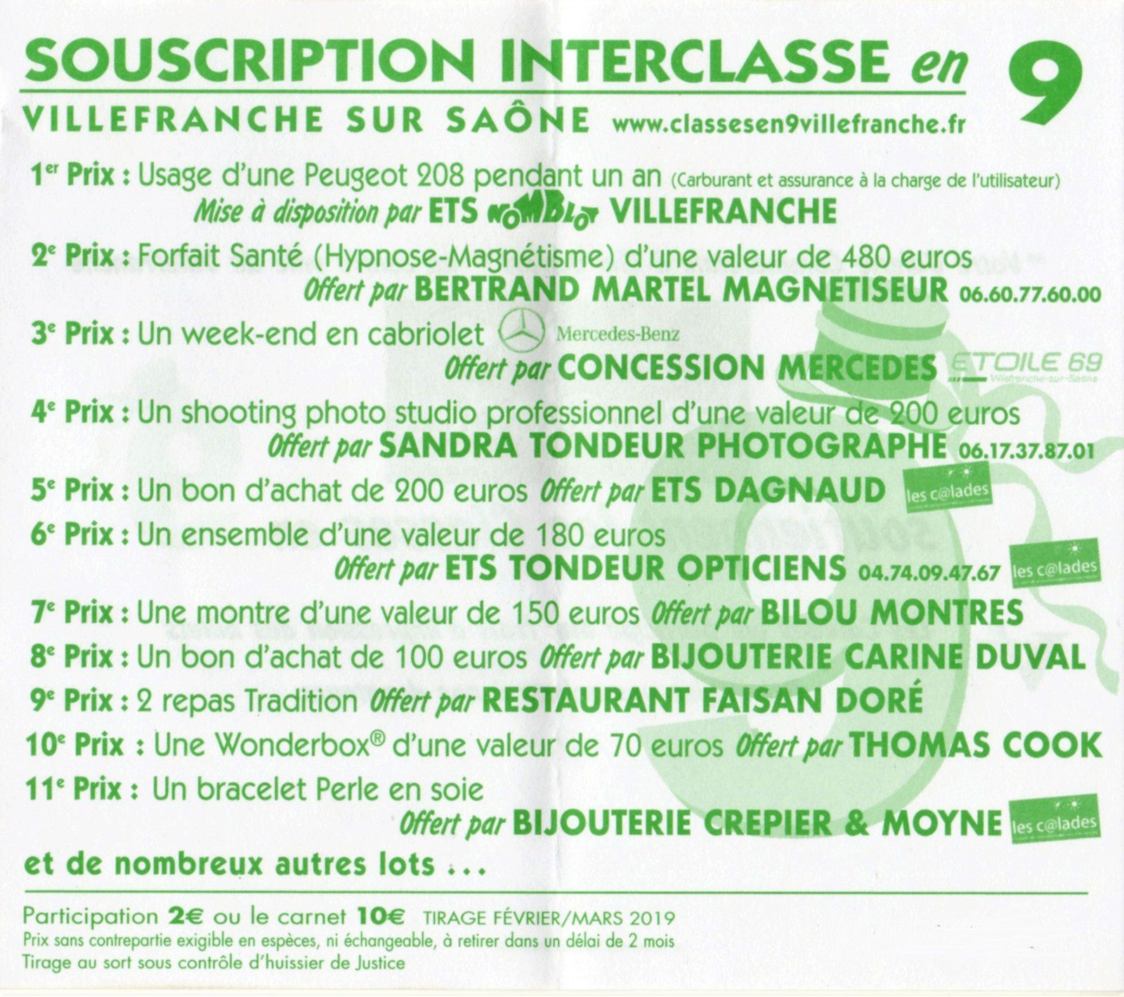 RÉSULTATS DE LA TOMBOLA DES CONSCRITS DES CLASSES EN 9