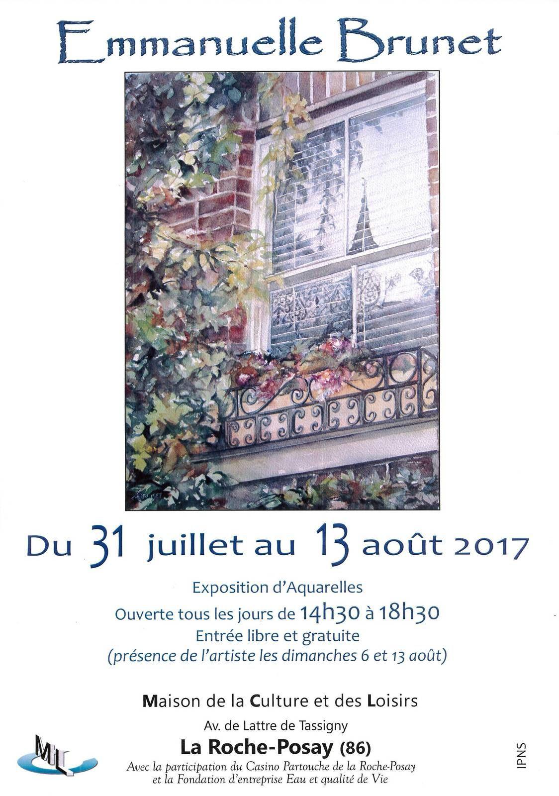 31 JUILLET au 13 AOUT 2017 : AQUARELLES D'EMMANUELLE BRUNET A LA MCL DE LA ROCHE-POSAY