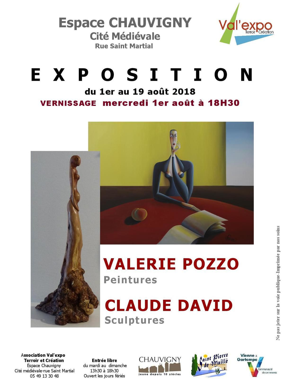 1 au 19 AOUT : EXPOSITION VALERIE POZZO & CLAUDE DAVID A L'ESPACE CHAUVIGNY