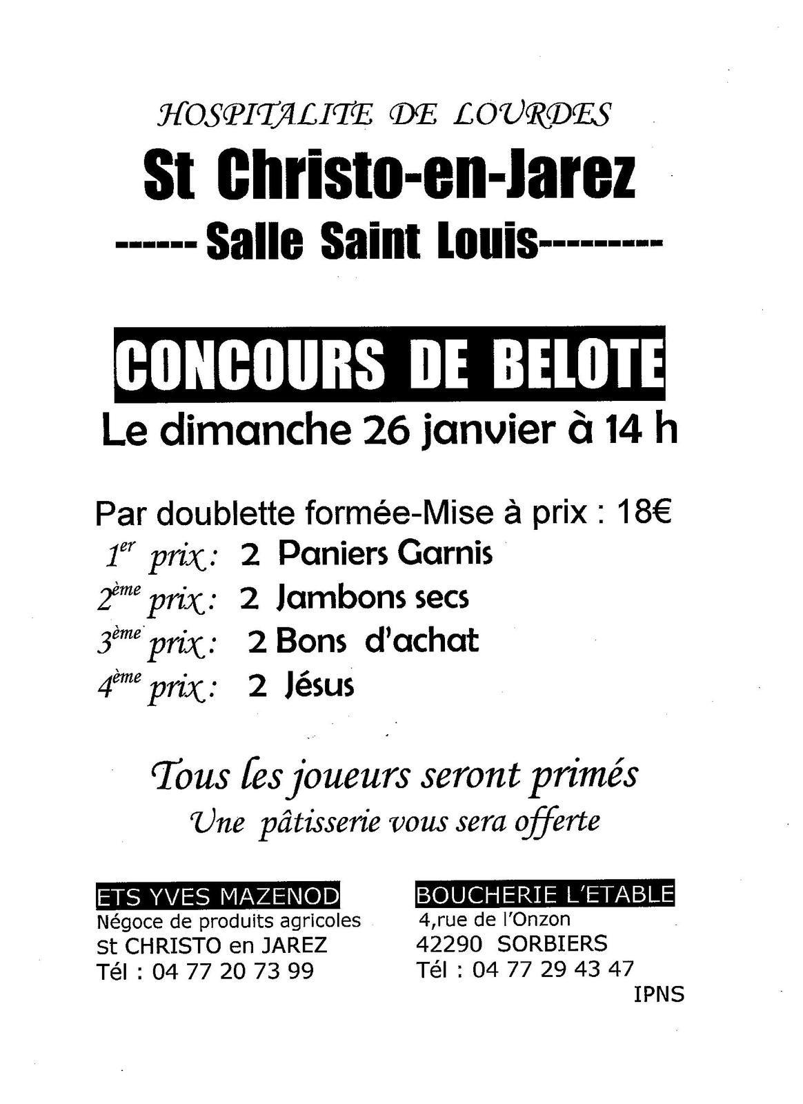 Concours de belote organisé par le groupe Valfleury- St Christo