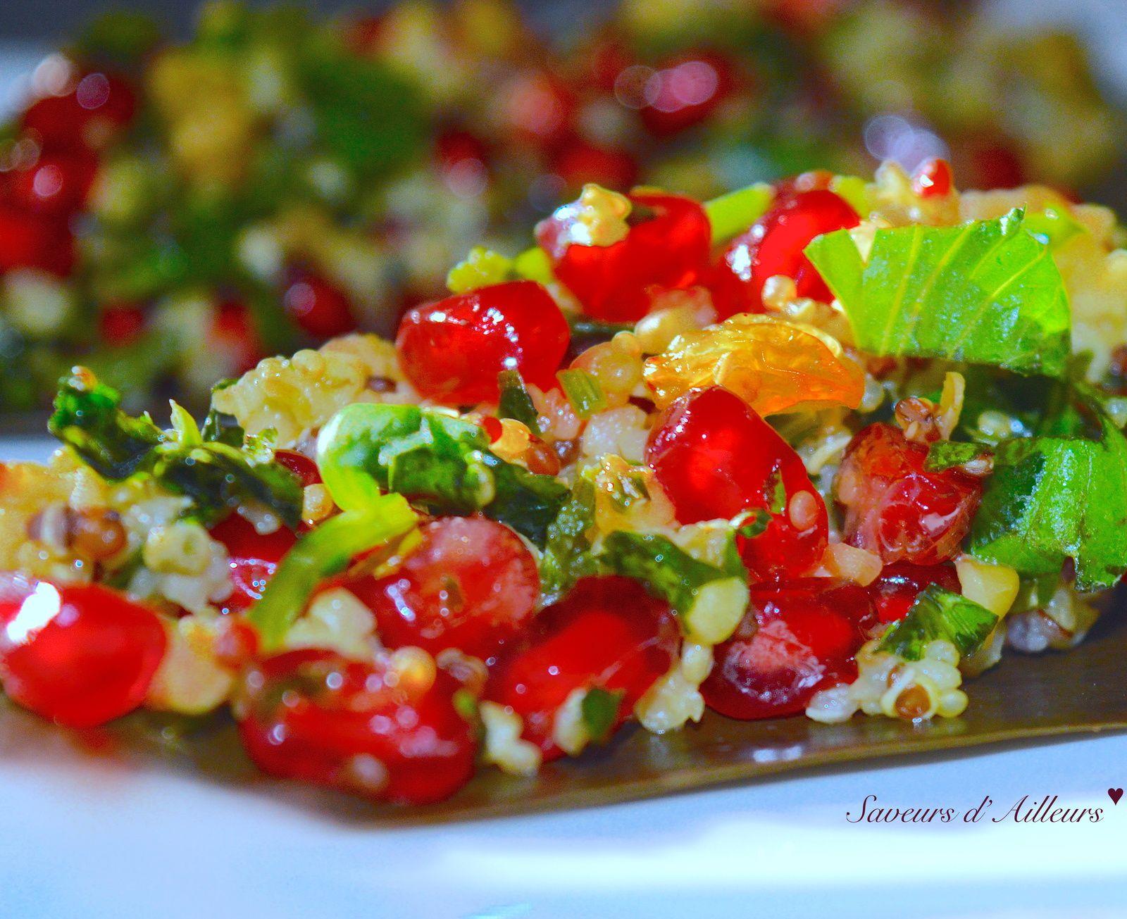 Salade de Boulgour Quinoa, grenade et fruits secs