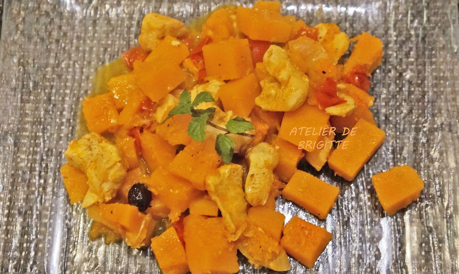 Courge, butternut, poulet, raisins secs, épices, raz el hanout, curcuma, tajine,