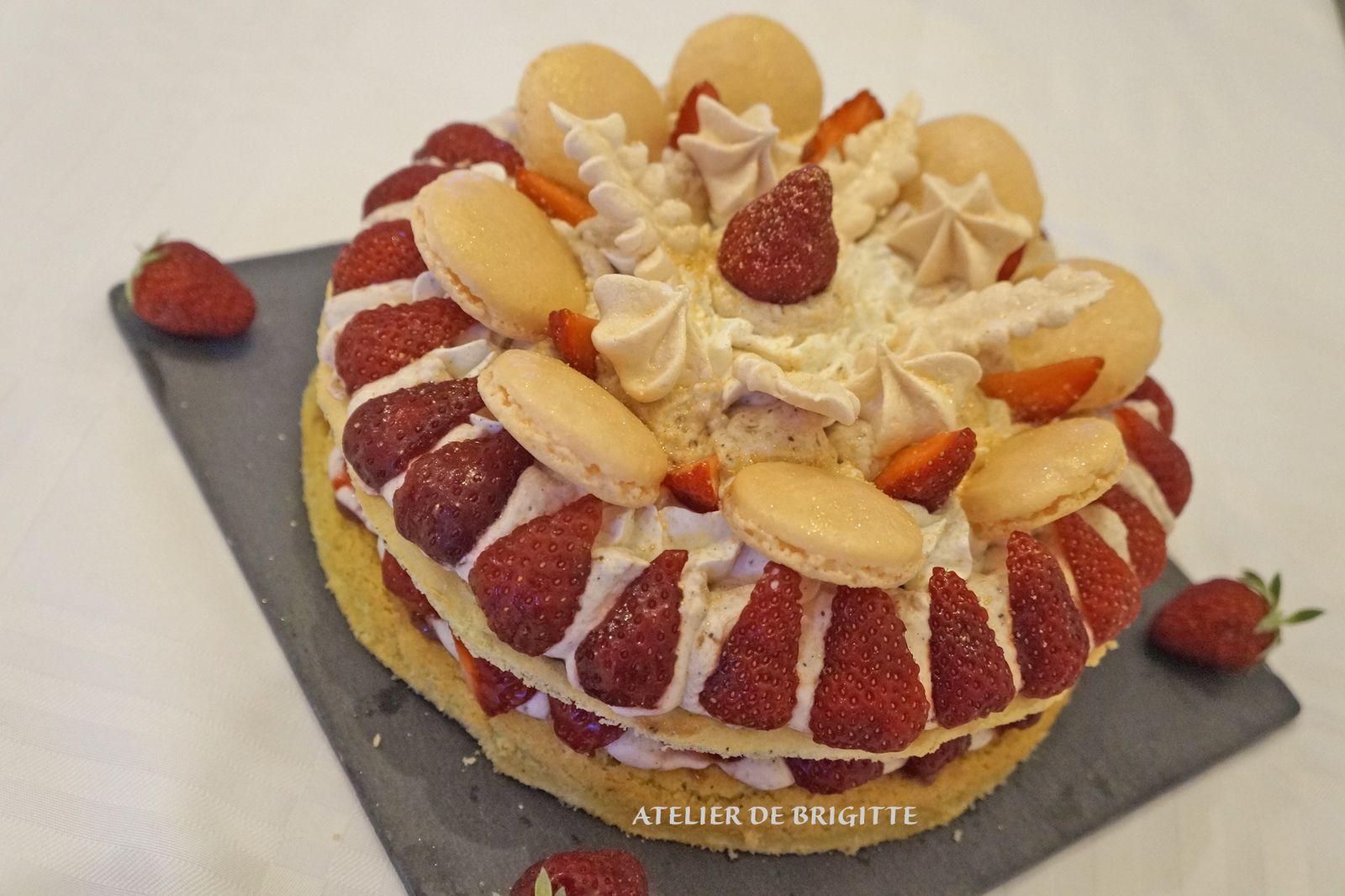 Number cake, fraises, dessert, pâtisserie, mousse de fraises, compotée de fraises,