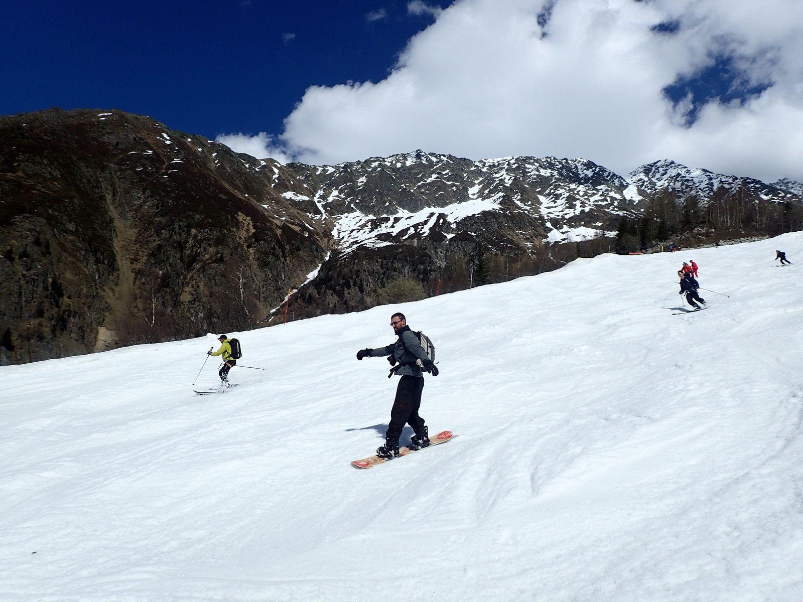 Snowboard aux Grands Montets