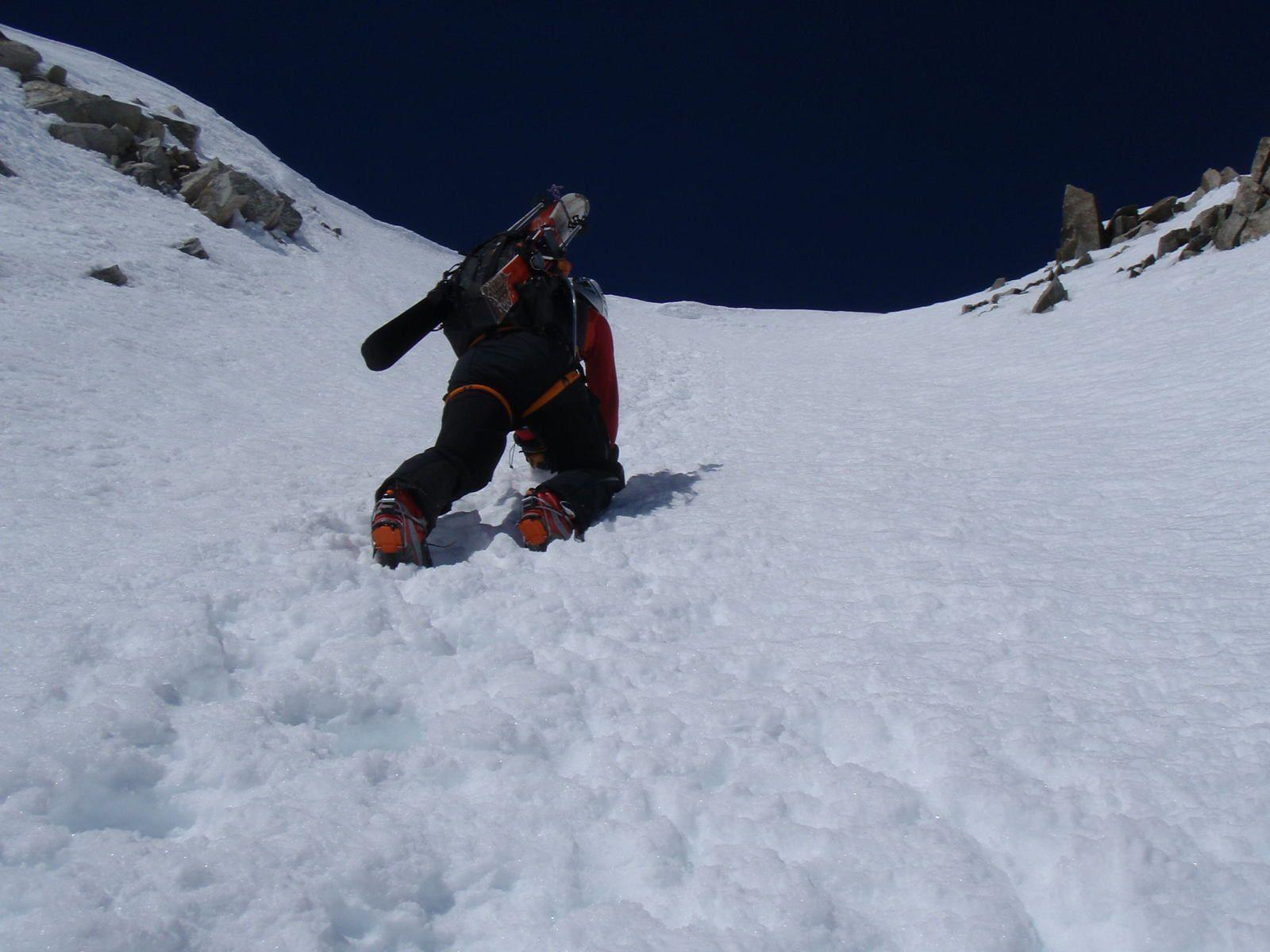 Aiguille d'Argentière: Traversée Couloir en Y>Glacier du Milieu 1/2
