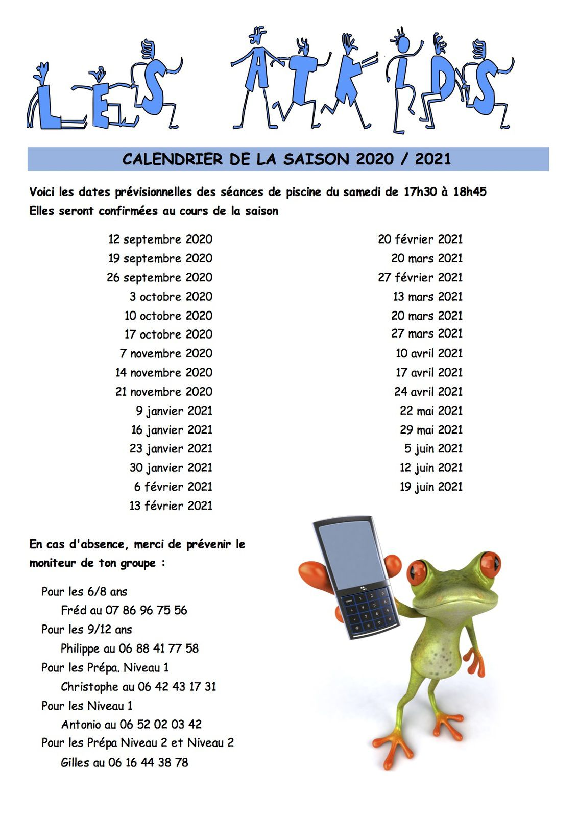 Le calendrier piscine des Suba Jeun's