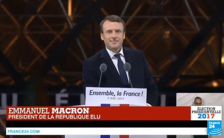 Discours d'Emmanuel Macron, président de la République élu, au Carroussel du Louvre