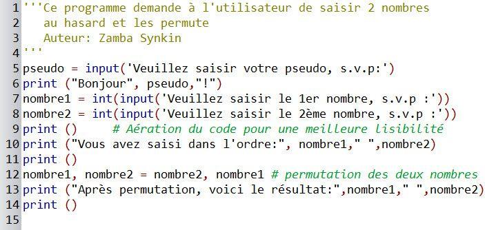 Initiation à la programmation #7 : Atelier #2 - Permuter deux nombres - Le script