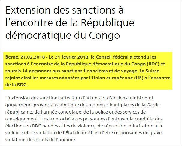 RDC : La Suisse sanctionne, à son tour, 14 personnalités de la Kabilie