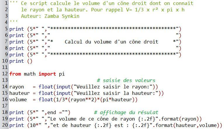 Script #2 : Calcul du volume d'un cône droit