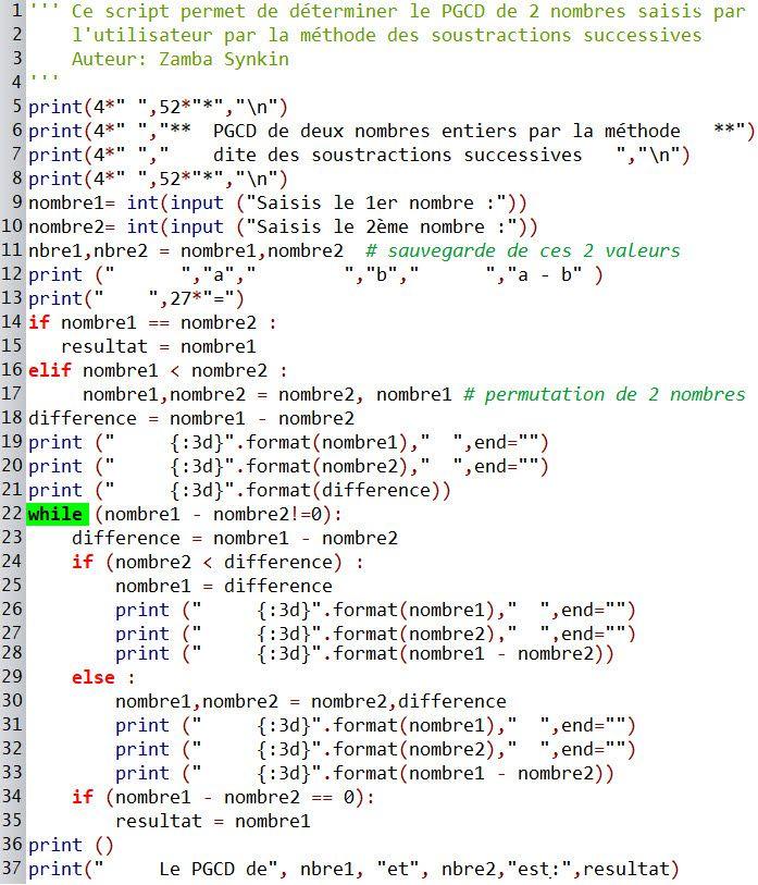 Atelier Pratique - Script #4 - PGCD par la méthode des soustractions successives