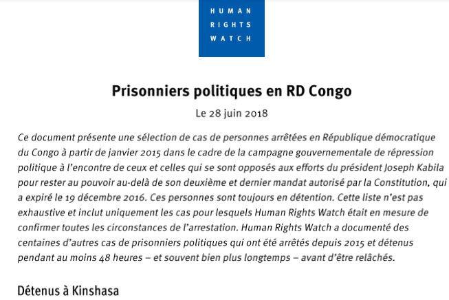 Liste des prisonniers politiques détenus à Kinshasa