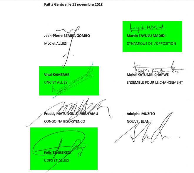 Les signatures de 7 Leaders de la Coalition Lumuka
