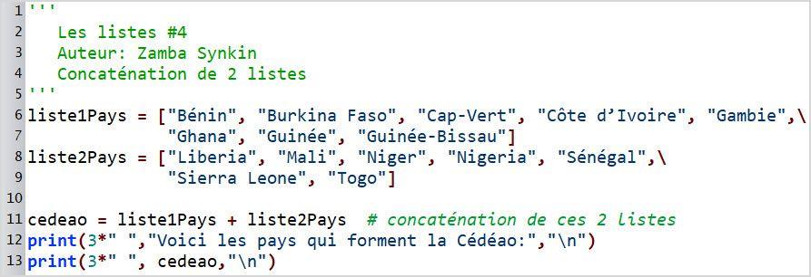 Les listes #4 : concaténation