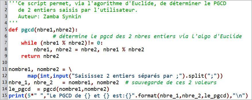Les fonctions #3 - PGCD via l'algorithme d'Euclide