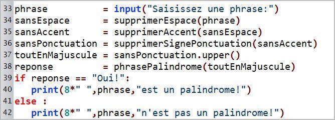 Phrase palindrome. Éléments de réponse. Figure 3