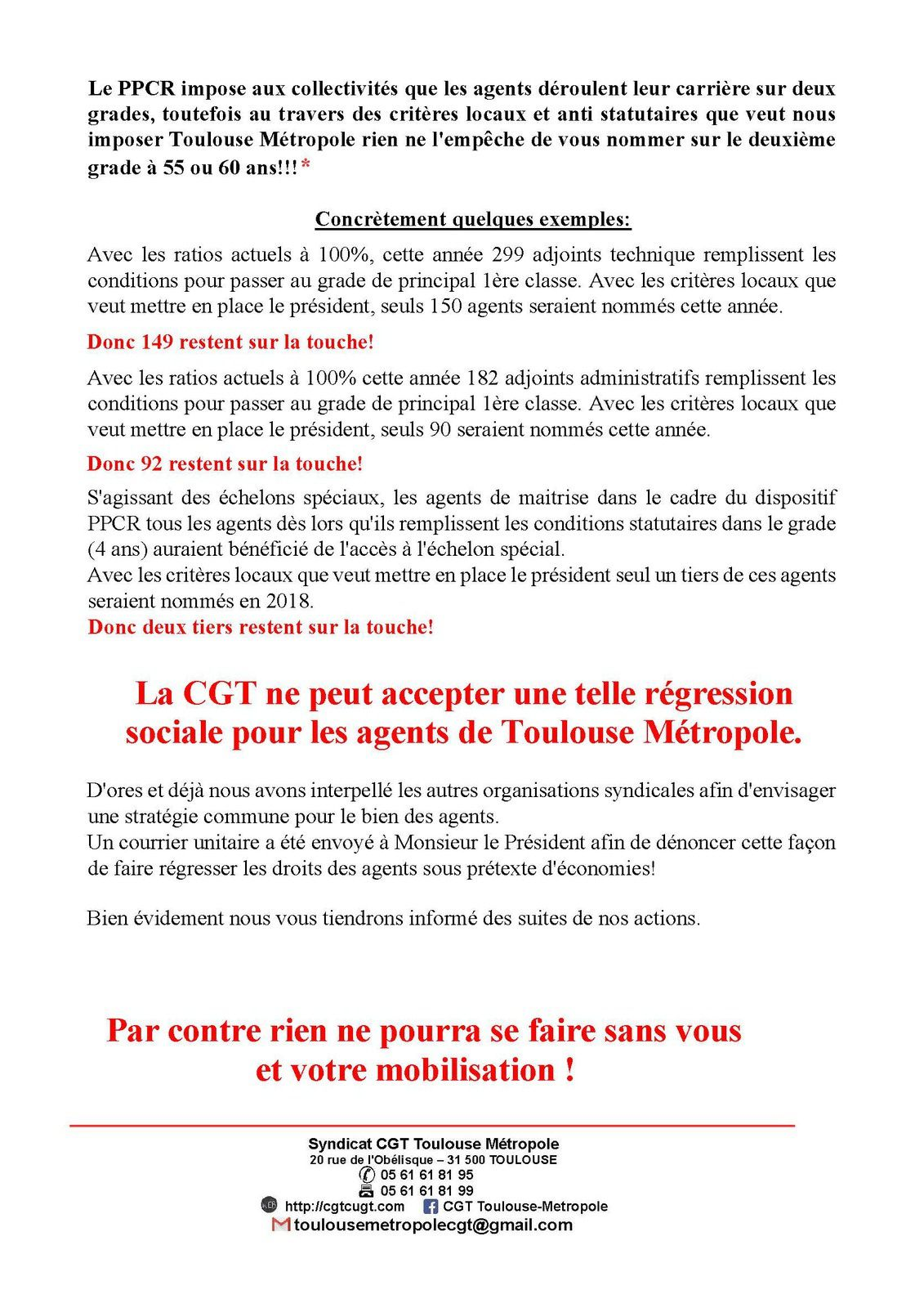 Courrier intersyndicale + Tract CGT TM