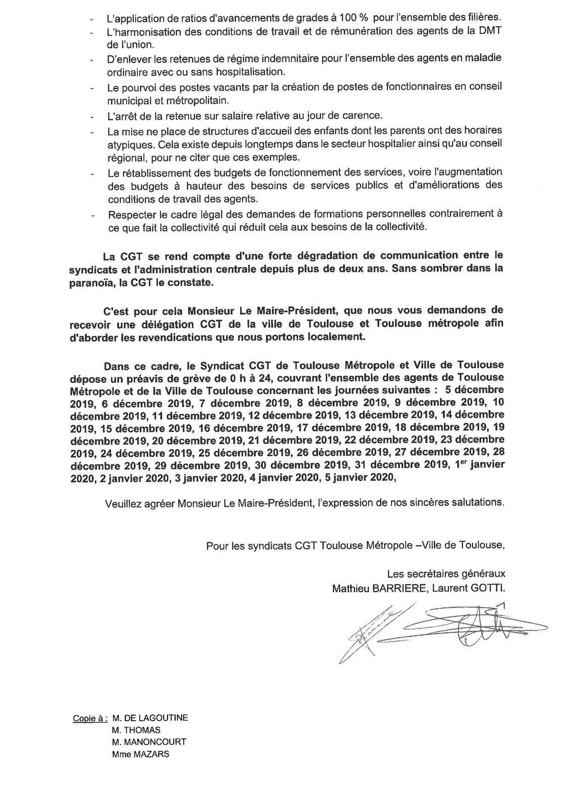 préavis de grève commun CGT ville-métropole