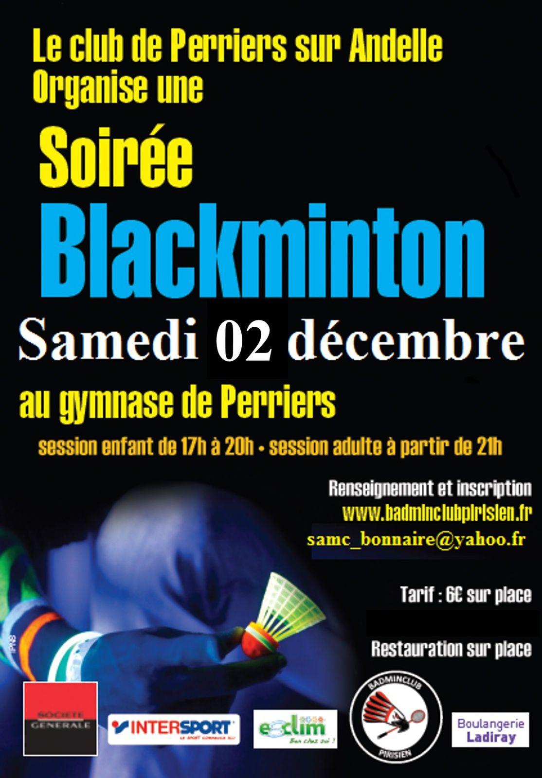 Rappel : Soirée blackminton le 02 décembre