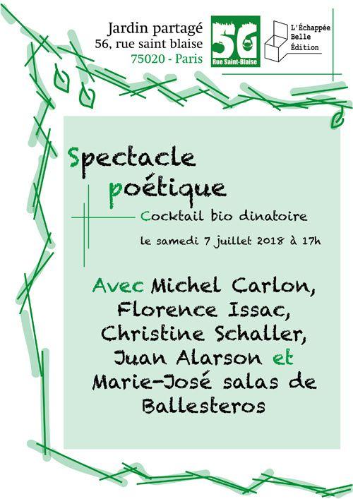 Spectacle poétique au Jardin Partagé, rue Saint Blaise, à Paris, 20e