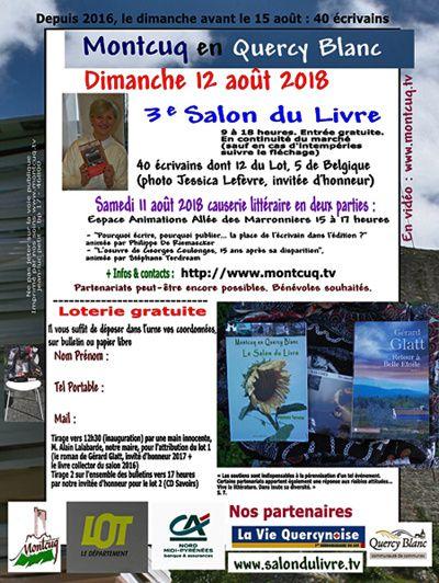 Montcuq en Quercy-Blanc : 3e Salon du Livre, les 11 et 12 août 2018