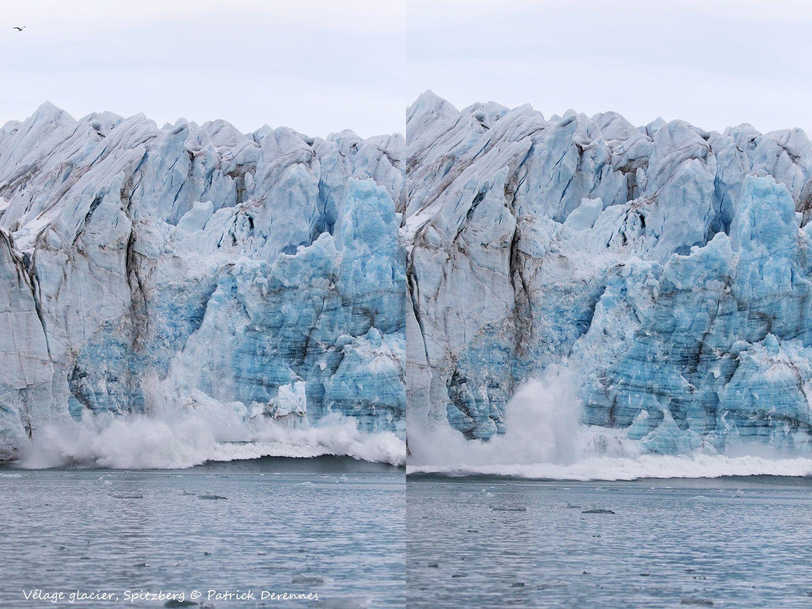 Spitzberg, vêlage d'un glacier, en direct.
