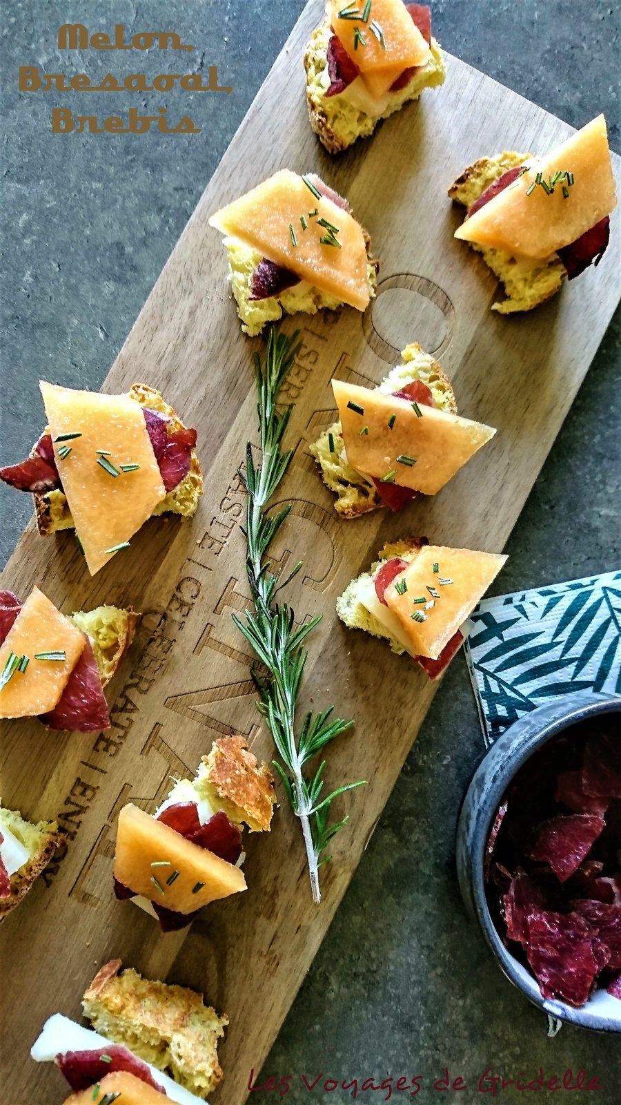 Canapés Melon, Fromage de Brebis et Bresaola