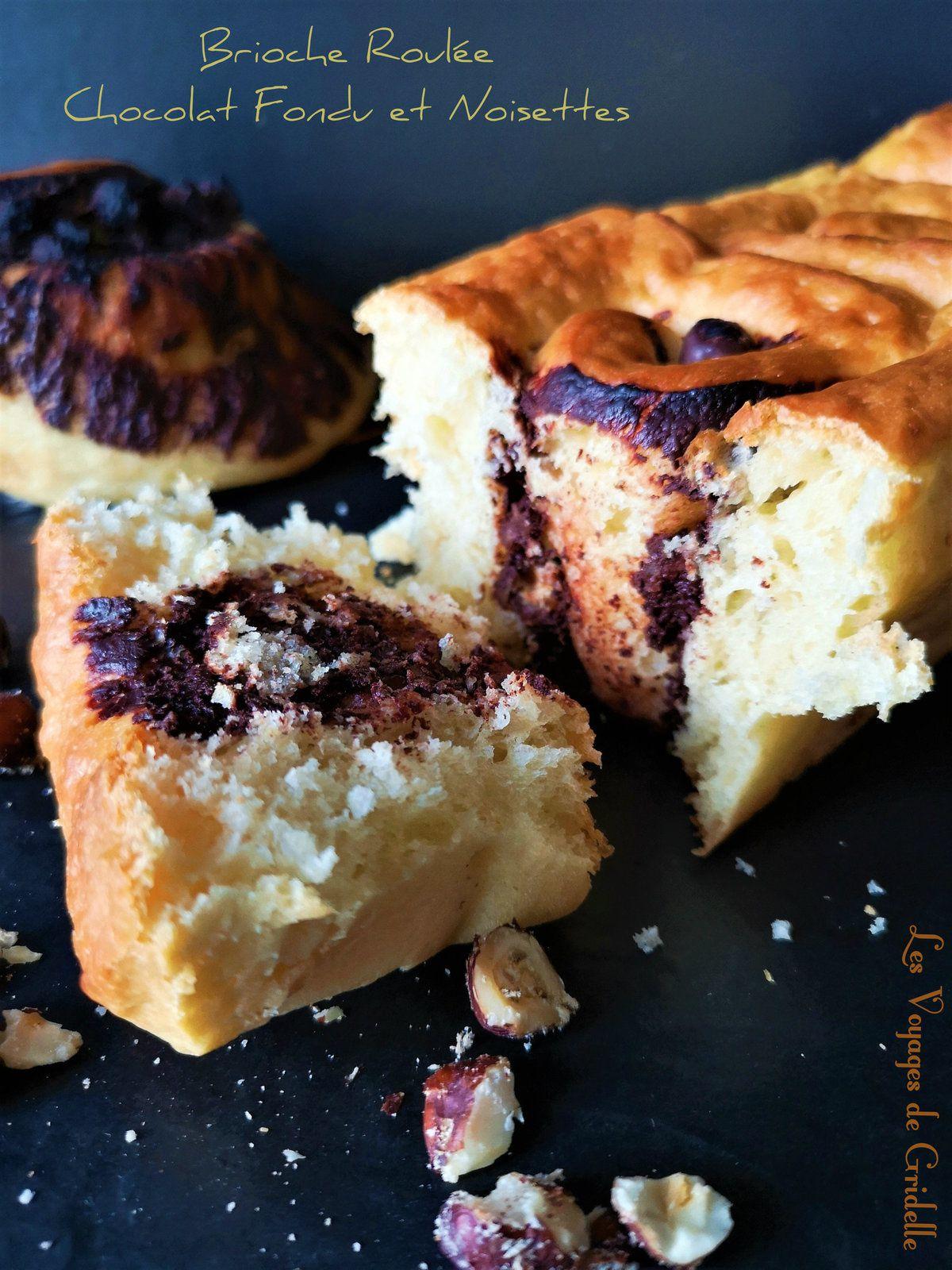 Brioche Roulée Chocolat Fondu et Noisettes