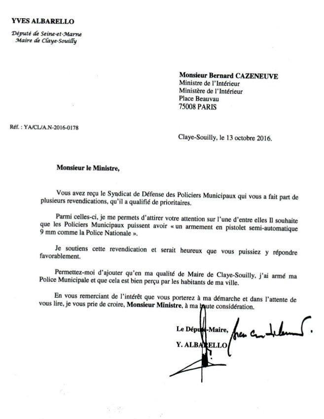 Le Député Yves ALBARELLO soutient le SDPM et écrit au Ministre, pour obtenir l'armement généralisé des policiers municipaux en 9mm
