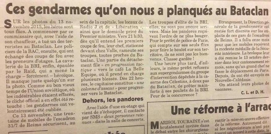"""Canard enchainé / attentat du Bataclan, ordres donnés aux Gendarmes : """"vous ne vous en mêlez pas"""""""