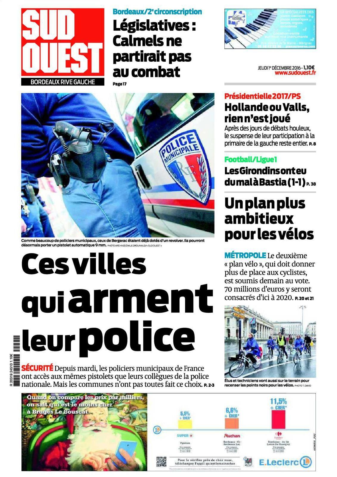 Sud-Ouest : Ces villes qui arment leur Police Municipale - Réaction du SDPM