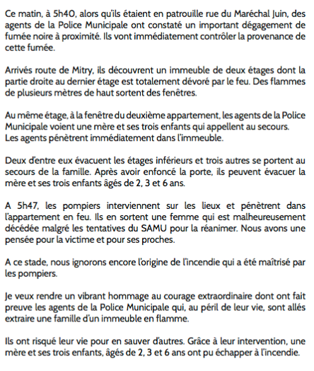 Communiqué du Maire d'AULNAY