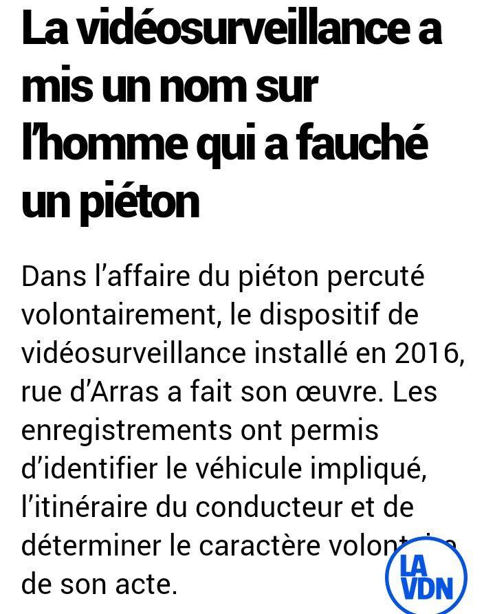 Saint-Omer(62) : la vidéoprotection permet l'identification l'auteur qui avait renversé un piéton volontairement
