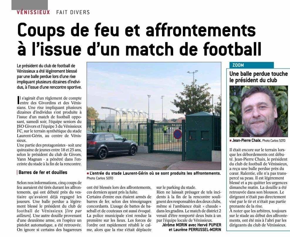 Vénissieux(69) : coups de feu après un match de foot, la Police Municipale intervient la première sur les lieux