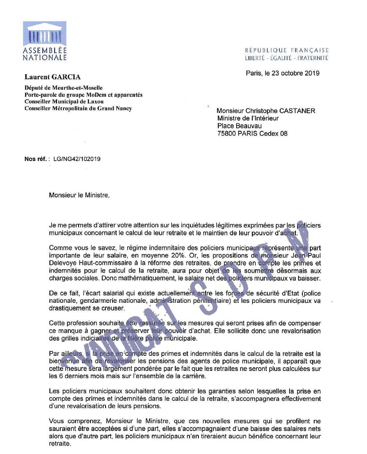Salaires et retraites des Policiers Municipaux : le Député Laurent GARCIA soutient le SDPM auprès du Ministère
