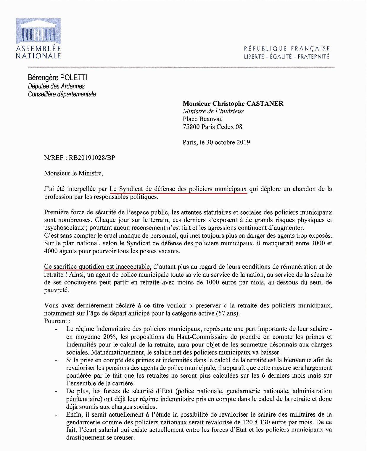 Enorme soutien de Mme la Députée Bérengère POLETTI en faveur des Policiers Municipaux