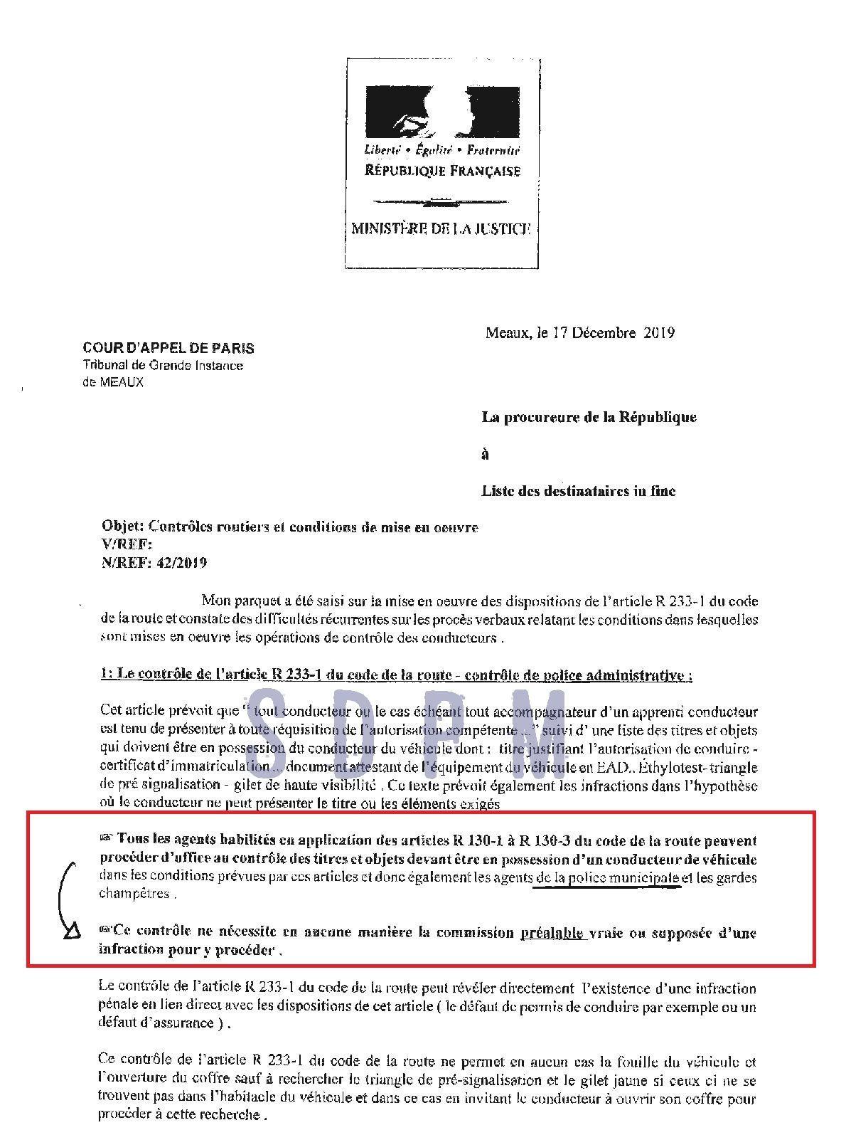 Un Procureur confirme la position du SDPM : pas d'infraction préalable à un contrôle routier
