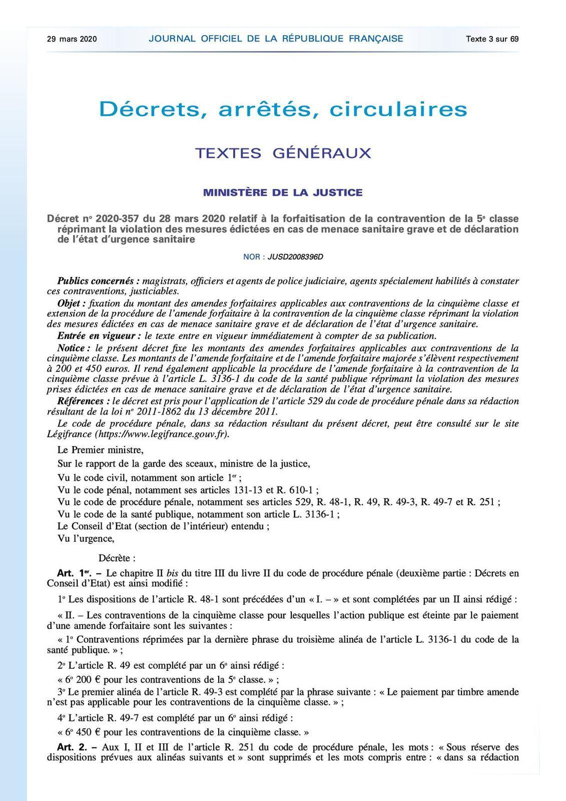 Confinement : évolution du tarifs des contraventions (Décret n° 2020-357 du 28 mars 2020)