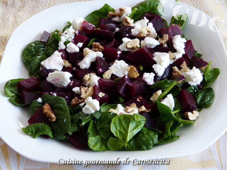 Salade de betterave aux épinards et ricotta