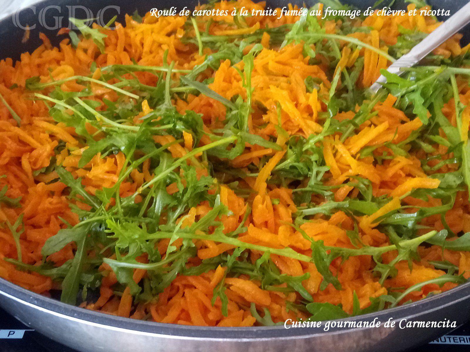Roulé de carottes à la truite fumée au chèvre frais et ricotta