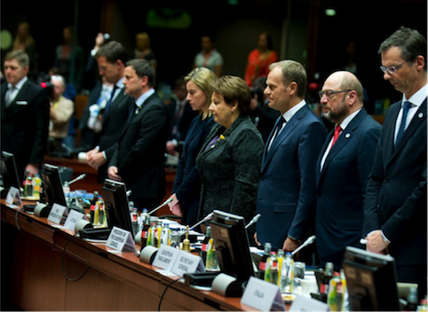 Photo shows European Council observing a minute of silence in remembrance of the victims of the recent tragedies in the Mediterranean. Courtesy @EUCouncil.