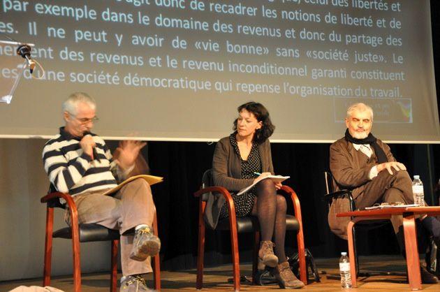 Corinne Morel-Darleux au colloque CPP de 2014 à Lyon avec Serge Latouche et Michel Lepesant