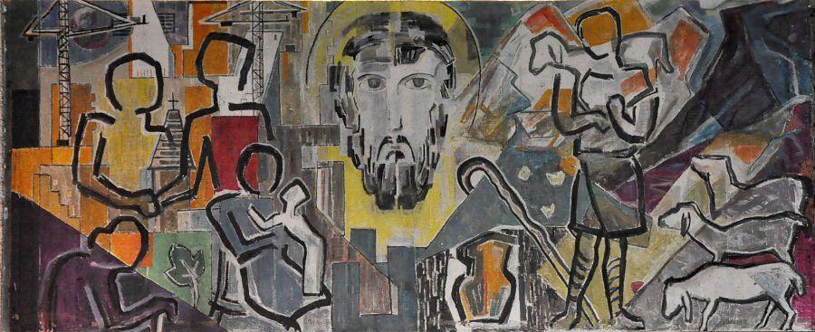 Le Bon-Pasteur (auteur inconnu), peinture sur ciment Le visage du Christ est entouré, à droite, par un berger et ses brebis et, à gauche, par des silhouettes qui représentent les âges de la vie. Paris 11e.
