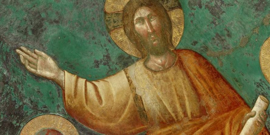 Jésus-Christ, enseignant, fresque de la basilique San Giorgio à Rome, XIIIe siècle