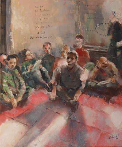 peinture de Richard Holterbach, devant le tableau de Saint-Fons, Antoine Chevrier avec des jeunes.