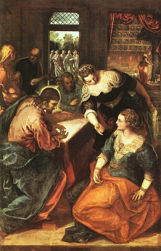 Jacopo Robusti dit Le Tintoret, Le Christ chez Marie et Marthe, 1580; huile sur toile, Munich