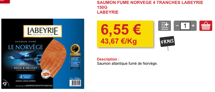 Saumon fumé bio en haut, et son équivalent conventionnel en bas chez la marque Labeyrie
