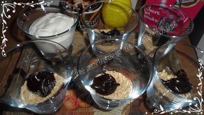 Verrines vanille / framboise et cœur chocolat